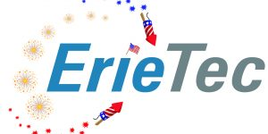 festive ErieTec logo in which the name ErieTec is surrounded by fireworks and the letter i is dotted with an american flag.