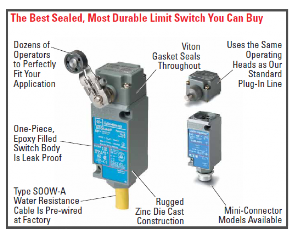 basic limit switches don't have the following features like rugged zinc die cast construction, viton gasket seals, one-piece epoxy filled leak-proof body, and water resistant cable