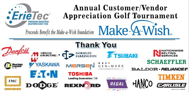 erietec donates to make-a-wish with help from sponsors danfoss, bearings limited, IMC, Hammond, Yaskawa, Eaton, Dodge, Gormley-Farrington, Mersen, Toshiba, Gen-Mark, Rexnord, US Tsubaki, Regal, Nationwide Belting Services, Schaeffler, Baldor, Timken, Carlisle, and HANCO.